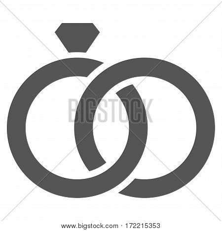 Gem Rings flat icon. Vector gray symbol. Pictogram is isolated on a white background. Trendy flat style illustration for web site design logo ads apps user interface.