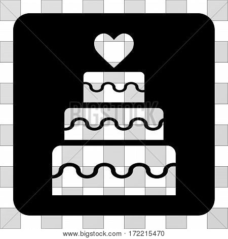 Marriage Cake rounded icon. Vector pictograph style is a flat symbol perforation in a rounded square shape, black color.