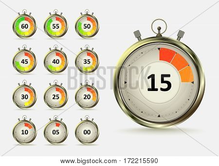 Golden digital timers countdown. Realistic chronometer with different times vector illustration isolated on white background. Time management symbol.