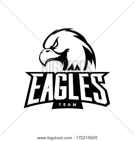 Furious eagle sport mono vector logo concept isolated on white background. Web infographic professional team pictogram. Premium quality wild bird t-shirt tee print illustration