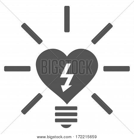 Heart Electric Bulb flat icon. Vector gray symbol. Pictogram is isolated on a white background. Trendy flat style illustration for web site design logo ads apps user interface.