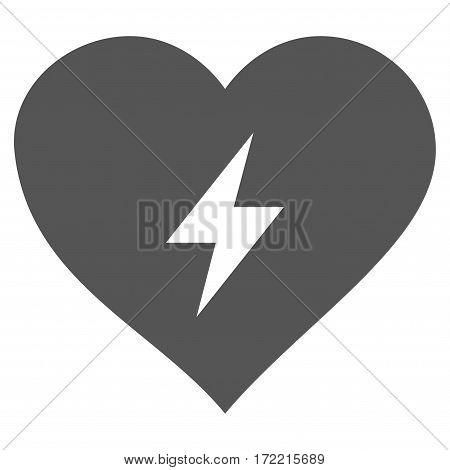 Heart Power flat icon. Vector gray symbol. Pictograph is isolated on a white background. Trendy flat style illustration for web site design logo ads apps user interface.