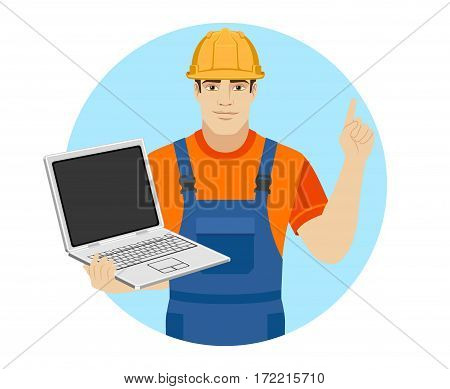 Builder holding a laptop and pointing the finger at yourself. Self-promotion. Portrait of builder in a flat style. Vector illustration.