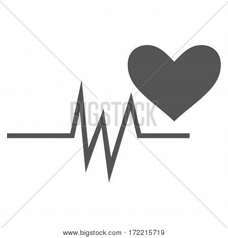 Heart Pulse Signal flat icon. Vector gray symbol. Pictograph is isolated on a white background. Trendy flat style illustration for web site design logo ads apps user interface.