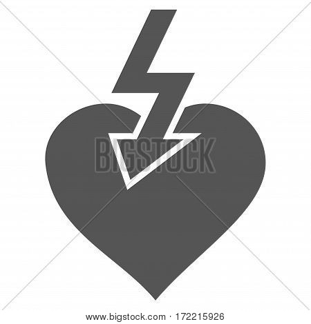 Heart Shock Strike flat icon. Vector gray symbol. Pictograph is isolated on a white background. Trendy flat style illustration for web site design logo ads apps user interface.