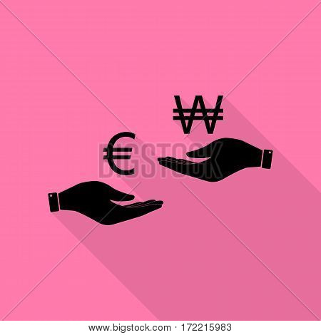 Currency exchange from hand to hand. Euro and Won. Black icon with flat style shadow path on pink background.