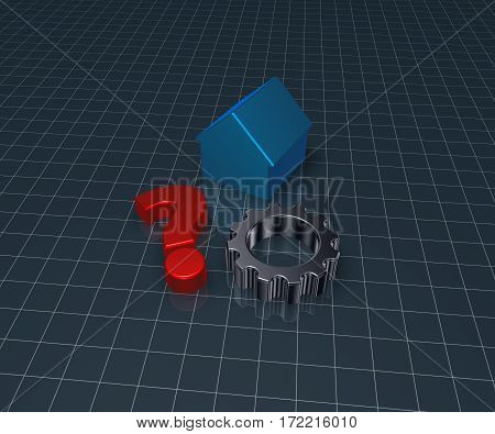 house model question mark and gear wheel - 3d rendering