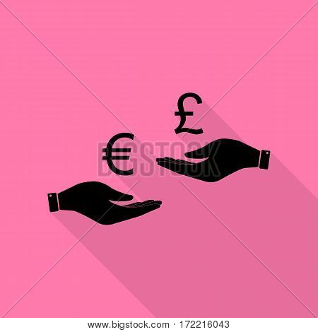 Currency exchange from hand to hand. Euro and Puond. Black icon with flat style shadow path on pink background.