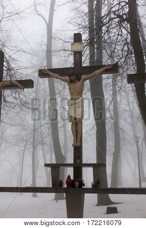 Crosses Jesus and the two thieves on Calvary. International Shrine of St. Anne Mount St. Anna Poland