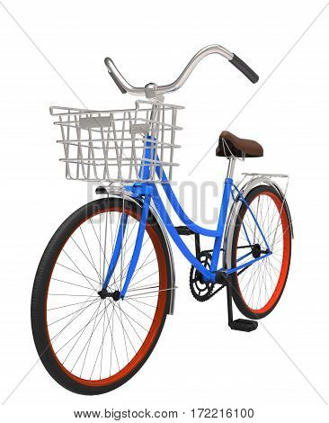 3d illustration classic blue bicycle with basket isolated on white