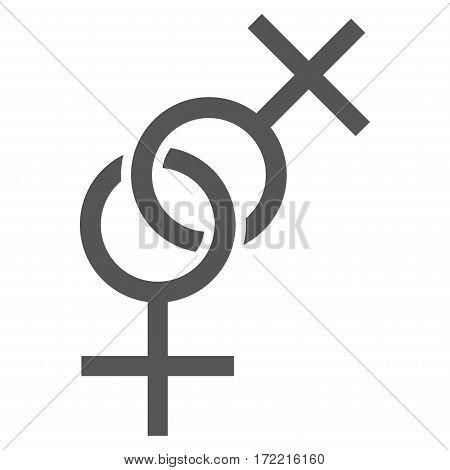 Lesbian Love Symbol flat icon. Vector gray symbol. Pictogram is isolated on a white background. Trendy flat style illustration for web site design logo ads apps user interface.