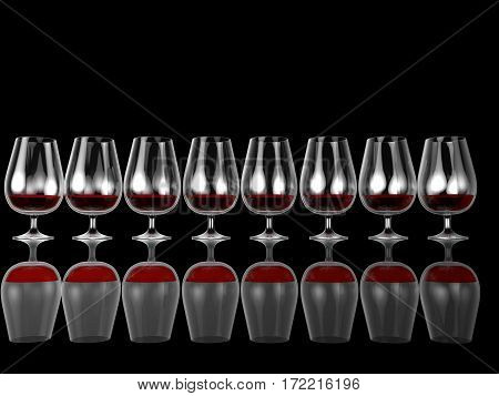 3d illustration row of whine glasses with red drink isolated on black