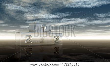 glass winner podium under cloudy sky - 3d illustration