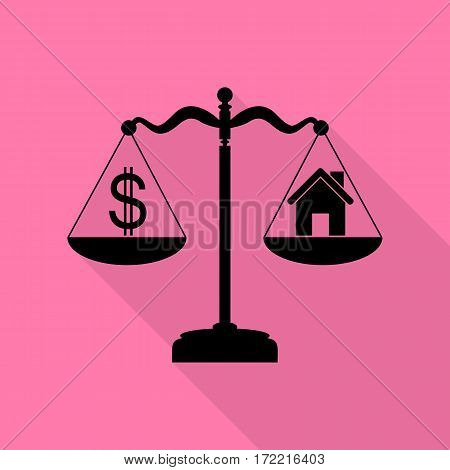 House and dollar symbol on scales. Black icon with flat style shadow path on pink background.