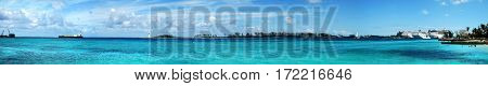 The panoramic view of Nassau city Harbour (The Bahamas).