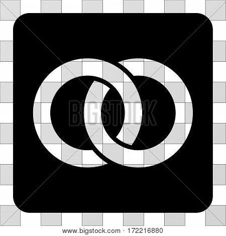 Wedding Rings interface toolbar icon. Vector pictograph style is a flat symbol perforation on a rounded square shape, black color.