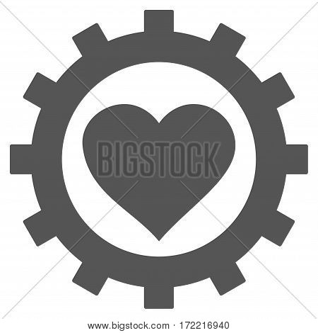 Love Heart Options Gear flat icon. Vector gray symbol. Pictogram is isolated on a white background. Trendy flat style illustration for web site design logo ads apps user interface.