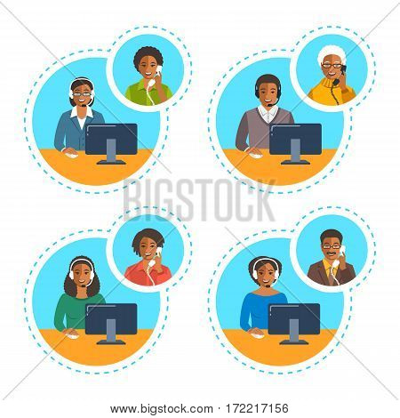 Call center agents team talking on the phone with customers. Flat vector banners. African American customer care operators. Online technical support service assistants with headphones.