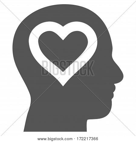 Love In Head flat icon. Vector gray symbol. Pictograph is isolated on a white background. Trendy flat style illustration for web site design logo ads apps user interface.