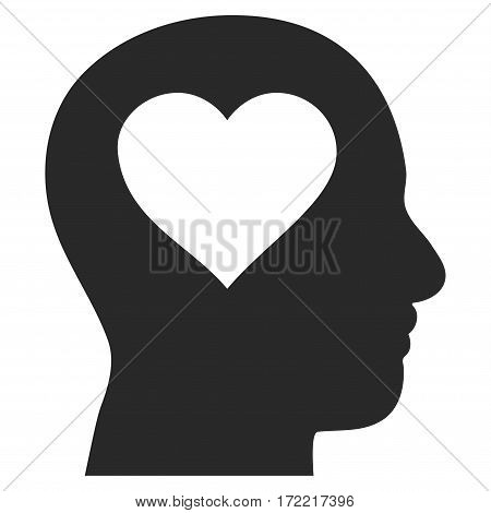Love In Head flat icon. Vector gray symbol. Pictogram is isolated on a white background. Trendy flat style illustration for web site design logo ads apps user interface.