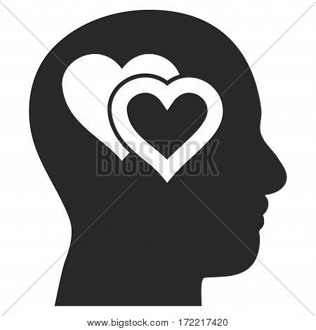 Love In Mind flat icon. Vector gray symbol. Pictograph is isolated on a white background. Trendy flat style illustration for web site design logo ads apps user interface.