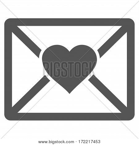 Love Letter flat icon. Vector gray symbol. Pictograph is isolated on a white background. Trendy flat style illustration for web site design logo ads apps user interface.