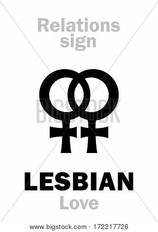 Astrology Alphabet: LESBIAN Love (Love between two women). Hieroglyphics character sign (dual pair symbol).