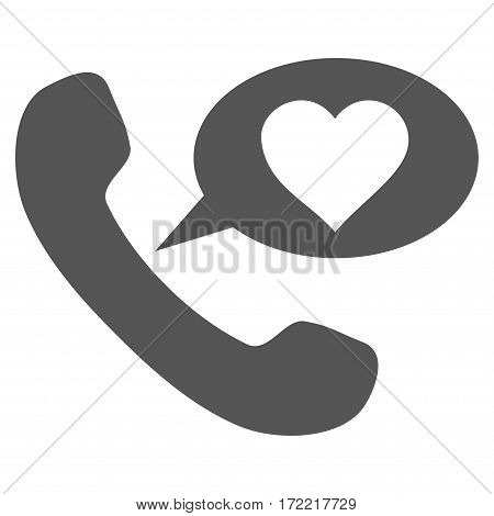 Love Phone Message flat icon. Vector gray symbol. Pictograph is isolated on a white background. Trendy flat style illustration for web site design logo ads apps user interface.