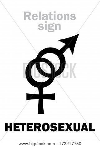 Astrology Alphabet: HETEROSEXUAL Love (between man and woman). Hieroglyphics character sign (pair symbol).