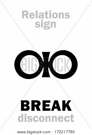 Astrology Alphabet: Sign of BREAK (disconnect). Hieroglyphics character sign (severance symbol).