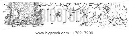Fairy stump with door and butterflies. Vector illustration. Doodle drawing. Meditative exercise. Coloring book anti stress for adults. Black and white.