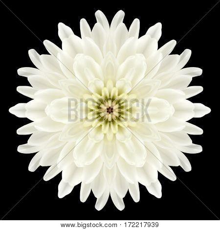 White Flower Mandala Kaleidoscope Isolated On Black
