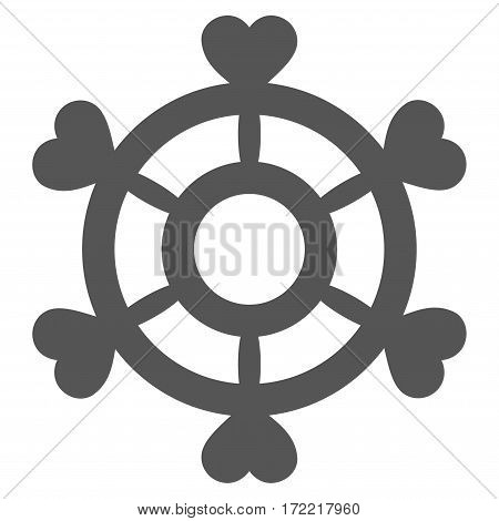 Lovely Boat Steering Wheel flat icon. Vector gray symbol. Pictogram is isolated on a white background. Trendy flat style illustration for web site design logo ads apps user interface.