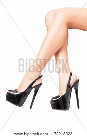 Luxury Black High Heel Shoes In Perfect Legs Isolated On White