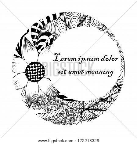 Vector illustration Zen Tangle, round frame, black and white