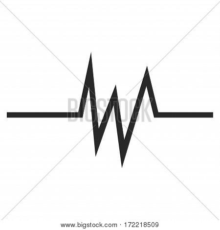 Pulse Signal flat icon. Vector gray symbol. Pictogram is isolated on a white background. Trendy flat style illustration for web site design logo ads apps user interface.