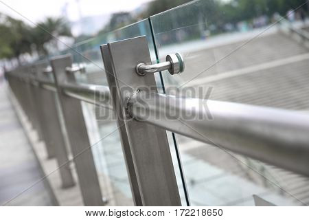 Modern architecture glass railing