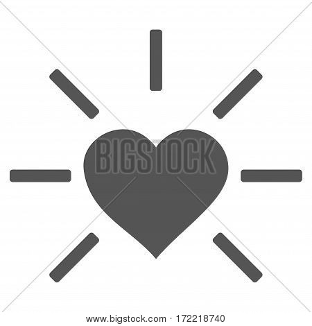 Shiny Love Heart flat icon. Vector gray symbol. Pictogram is isolated on a white background. Trendy flat style illustration for web site design logo ads apps user interface.