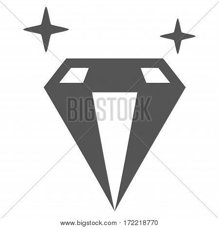 Sparkle Diamond Crystal flat icon. Vector gray symbol. Pictograph is isolated on a white background. Trendy flat style illustration for web site design logo ads apps user interface.
