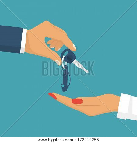 Man Pass Car Keys Female. Woman Driving
