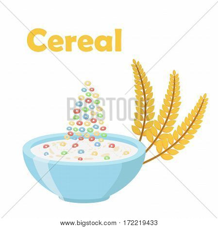 Cereal rings, with ears of wheat. Milk in oatmeal breakfast. Organic muesli. Flat vector style.