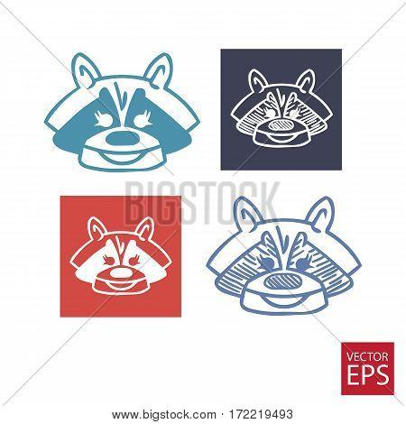 Icons set of cartoon badger on white background