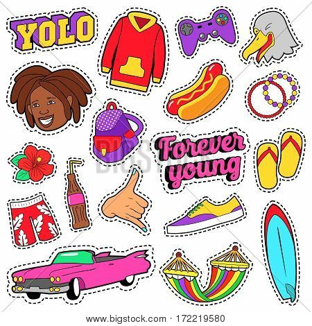 Teens Fashion Set with Pink Car, Fast Food and Colorful Clothes for Stickers, Badges. Vector doodle