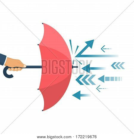 Protected from attack concept. Defender business metaphor. Financial security. Businessman is holding an umbrella as a shield reflecting the attacks.