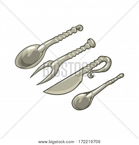 fork spoon and knife cartoon medieval cutlery set on white background