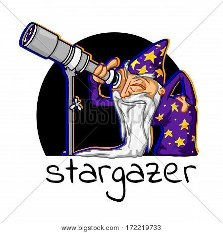 icon cartoon astrologer with the inscription stargazer