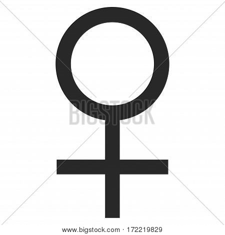 Venus Female Symbol flat icon. Vector gray symbol. Pictograph is isolated on a white background. Trendy flat style illustration for web site design logo ads apps user interface.