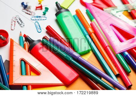 Stationary On A White Background. Top View