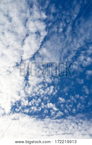 The sky is beautiful panoramic with fancy curly clouds. Heavenly background in a highly patterned top. Free space atmospheric flight and freedom.