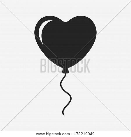 Heart balloon. Vector icon isolated on grey background.